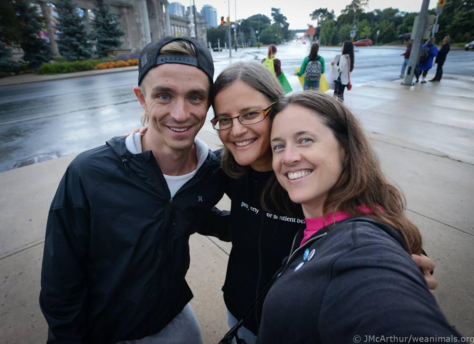 Mark with Anita Krajnc and Jo-Anne McArthur